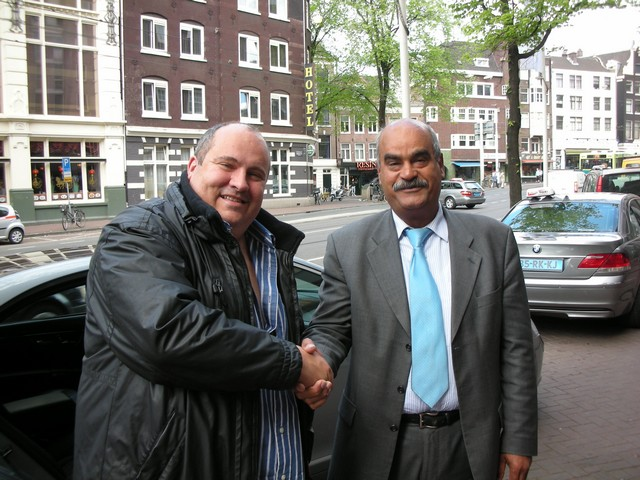 Myself and Ali from BTC outside the Crowne Plaza Hotel in Amsterdam